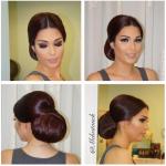 Hochsteck frisuren für Frauen lange glatte Haare