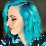 Moderne Haar blau Bob frisuren frauen halblang