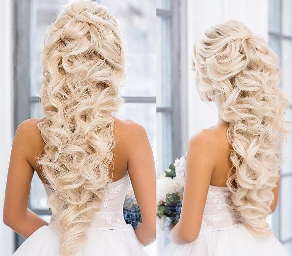 Bilder Mit Attraktiv Frisuren Locken Lang Hochzeit Fur Blondinen