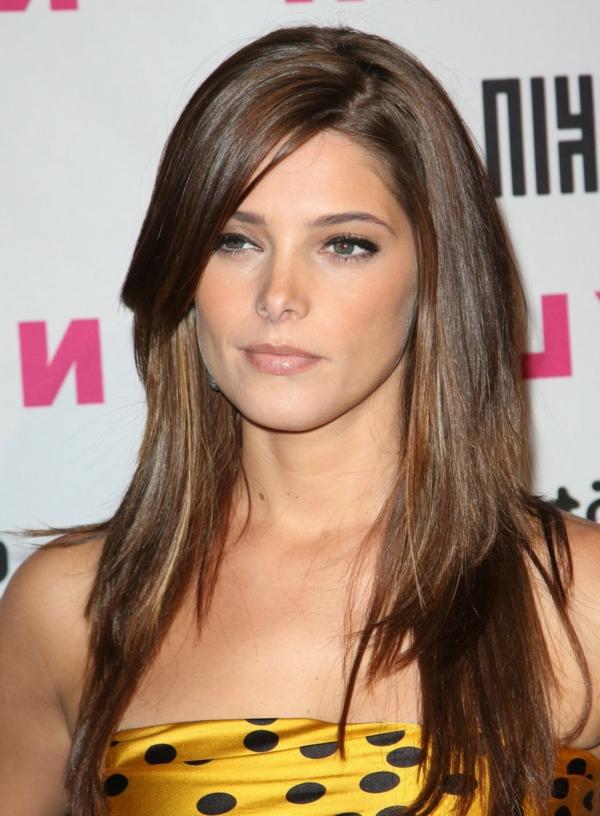Einfache Elegante Frisuren Lange Braune Haare Glattes Haar Und Eine Einfache, Aber Immer Noch Frauen Noch Schöner