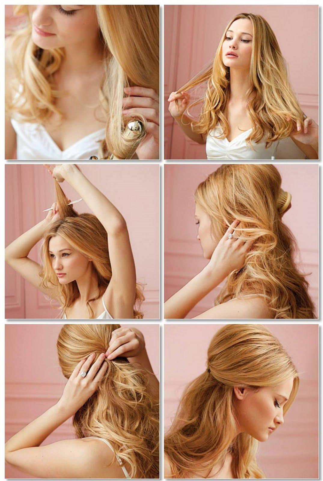 Elegante Frisuren Einfach Gemacht Für Lange Und Blonde Haare, Die Macht Frauen Sehen Eher Fröhlich Und Schön