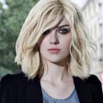 Frisur Halblanges Haar Schönes Gesicht Mit Blonden Haaren, Die Ihre Frisur Ideen Sein Könnte