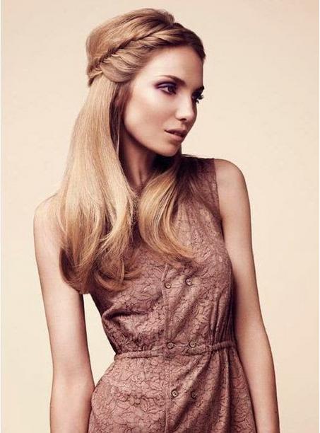 Halblange Haare Frisuren Mit Geraden Blondes Haar Geflecht
