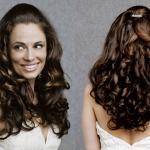 Hochzeits Frisuren Das Elegante Frauen Lange Gewellte Haare Und Braun, Die Die Anzeige Mag Ohne Pony In Front Und Einem Kleinen Zopf