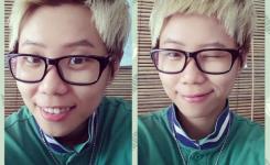 unisex-frisuren-kurze-fransen-blond-haare-lassigen-stil-mit-brille-und-einer-jacke
