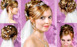 Frisuren Hochzeit Mittellang Mit Dekorativen Krone Auf, Geeignet Für Gewellte Haare Und Braun Oder Blond, Machen Pengantik Würdevoll, Wie Eine Prinzessin Sein
