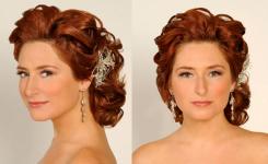 Hochzeits Frisur Wunderschöne Rote Bis Braune Haare Mittellang, Ohne Pony, Welliges Haar, Einfach Mit Wenig Dekoration Im Haar